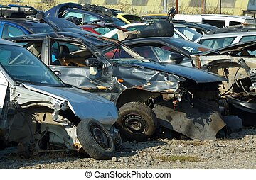 Smashed cars - Picture of a smashed cars in a junkyard