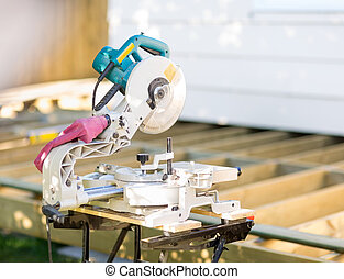 Table Saw - Closeup of table saw at construction site