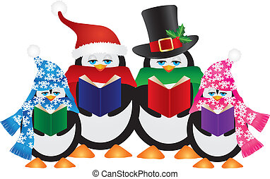 Penguins Christmas Carolers Illustration - Penguins...