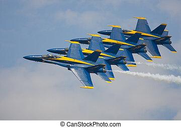 el, azul, Ángeles, preform, muy, apretado, flyby,...