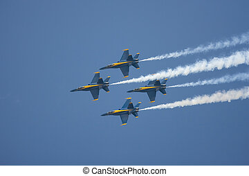 The Blue Angels preform a diamond formation flyby - The Blue...