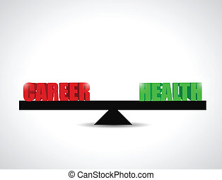 career versus health balance illustration design over a...
