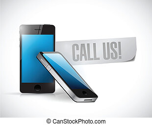 call us phone message illustration design over a white...