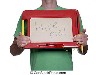 Employment wanted - Man holding magnetic drawing board with...