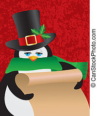 Penguin Male Holding Scroll Illustration