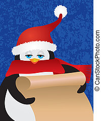 Penguin Santa Holding Scroll Illustration