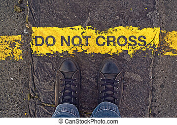 Do Not Cross The Line, On the Border - Male sneakers on the...