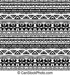Striped ethnic pattern in black and white - Ethnic pattern...