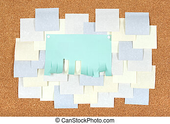 Many blank ads on corkboard - Blank ad with cut slips and...