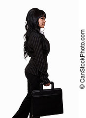 Woman in business suit - Full body of an attractive brunette...