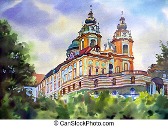 Austrian city of Melk landscape painted by watercolor