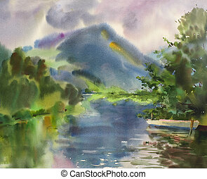 Mountain lake landscape painted by watercolor
