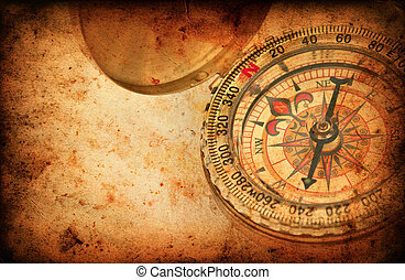 Navigation compass on Grunge old paper texture - Navigation...