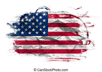 USA flag on Crumpled paper texture. Old recycled paper...