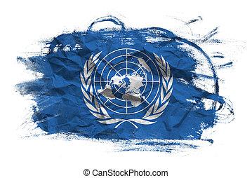 ONU, bandera, arrugado, papel, textura