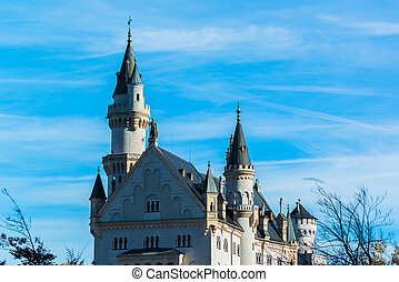 Neuschwanstein castle - Beautiful autumn view of the...