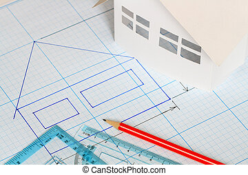 House draftsmanship - Drawing tools and little house on...