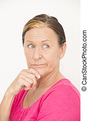 Concerned worried attractive woman - Portrait attractive...