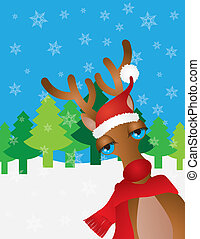Santa Reindeer with Santa Hat Snow Scene Illustration -...