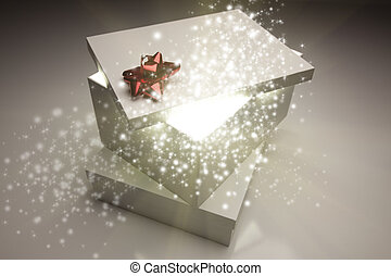 Stack of Christmas Presents With Magical Sparkling Light...