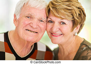 headshot of senior couple - headshot of happy senior couple