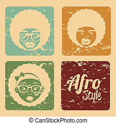afro style design over cream background vector illustration...