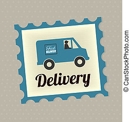 delivery seal over gray background vector illustration