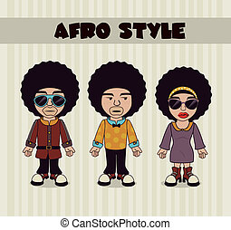 afro style design - afro style design over lineal background...