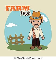 farm fresh label - farm fresh label over beige background...
