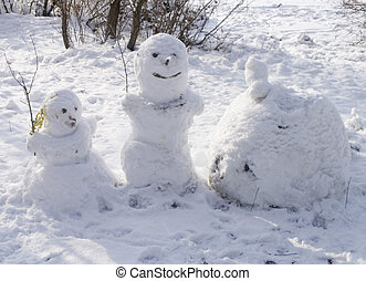 two snowmans - two funny snowmans stay on the snow