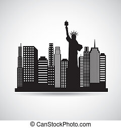 new york design over gray background vector illustration