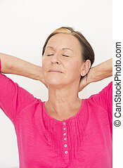 Laid back relaxed woman closed eyes - Portrait attractive...