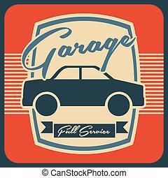 garage design over orange background vector illustration