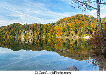 Alpsee in Fall, sea in Hohenschwangau near Munich in...