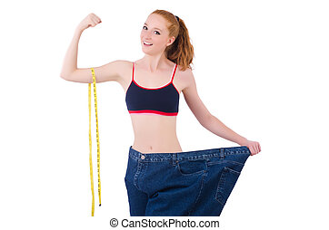 Young redhead girl in dieting concept