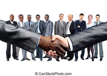 africaine, Américain, homme affaires, secousse,...