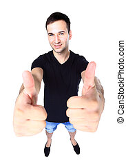 smiling young man with thumbs up on an isolated white background