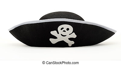 Hat pirate isolated - Childrens pirate hat for games and...