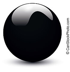 Black glossy ball on white background