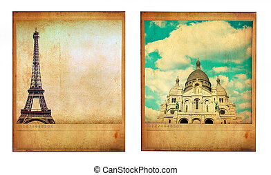 Pair of two vintage paris photos with Eiffel Tower and Sacre...