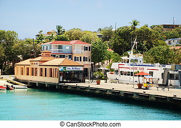 Caribbean Island of St. John, USVI - The ferry dock landing...
