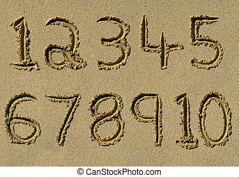 Numbers one to ten written on a sandy beach
