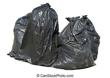 Black British bin bags, isolated on a white background.