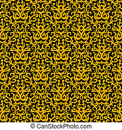 Damask pattern in gold on black