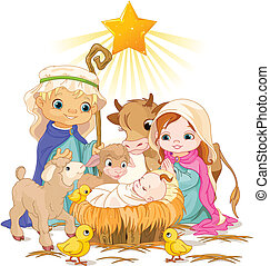 Holy Family - Christmas nativity scene with holy family.