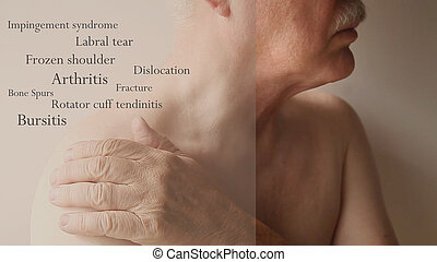 shoulder pain words on senior man - man with hand on...