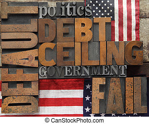 default and related words with flag - default, debt ceiling...