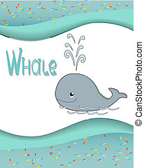Animal alphabet whale with a colored background
