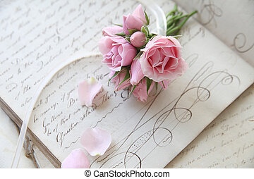 vintage lesson page with roses - page from workbook of...