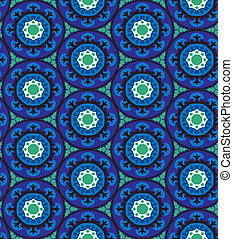 Suzani pattern - Ethnic pattern in blue color with stylized...